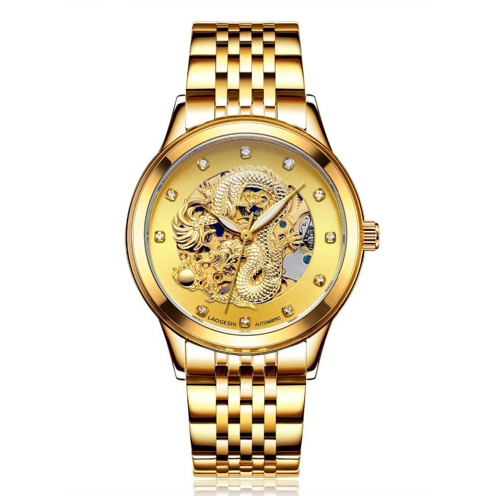 Reloj Homb Luxury Hollow Engraving Automatic Mechanical Men Watch Women Tourbillon Gold Clock Dragon &amp; Phoenix Watches Clock <br>