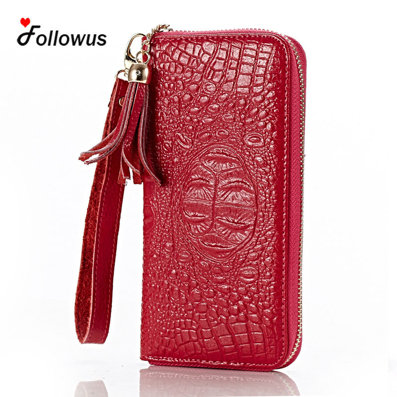 Women Crocodile Print Split Leather Alligator Purse Card Coin Pocket Long Zipper  Embossed 2017 New High Capacity Wallet Purses<br><br>Aliexpress