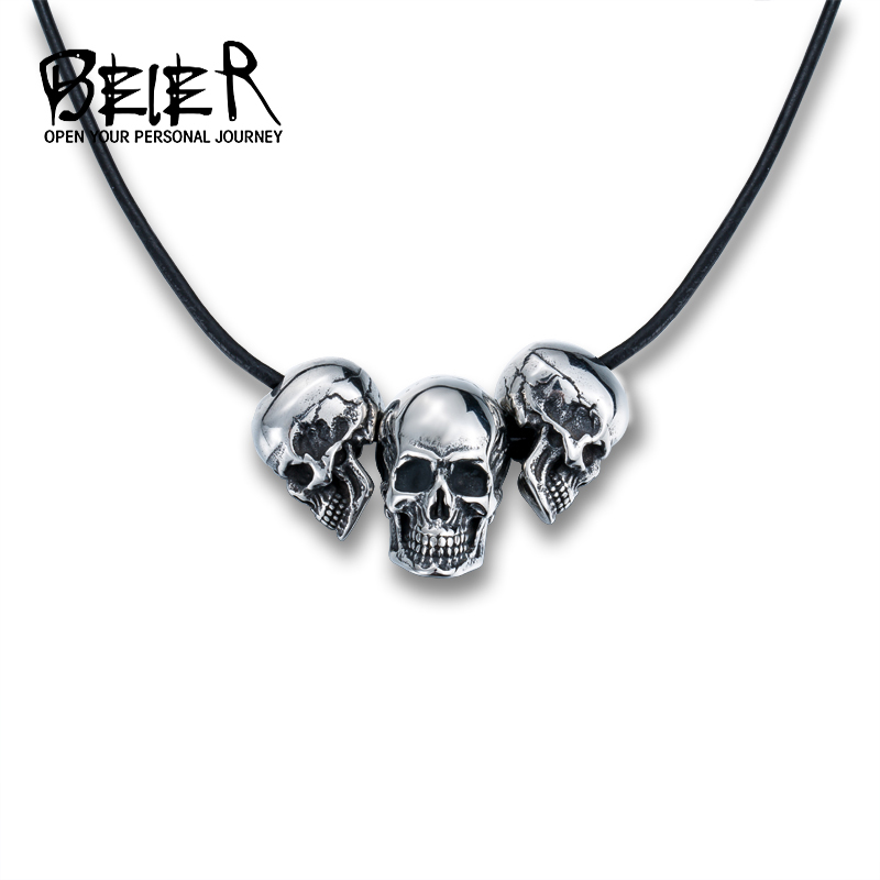 Beier 316L Stainless Steel Necklace New Arrival Super Punk Skull Biker Pendant Fashion Jewelry BP8-216