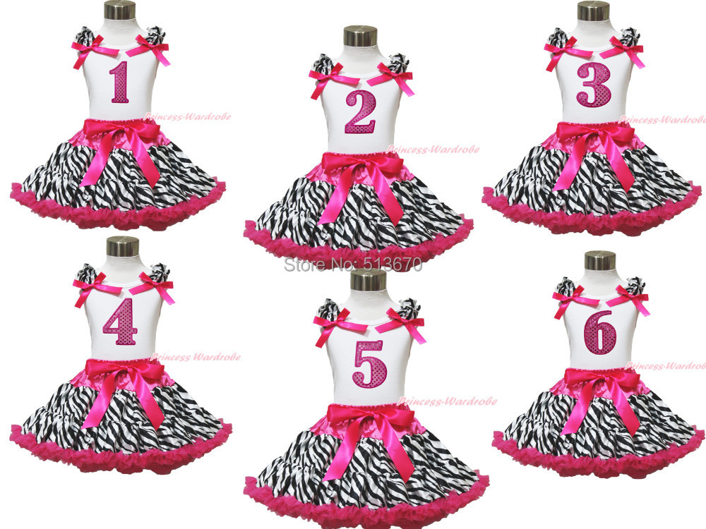 Baby Girl Birthday 1ST 2ND 3RD 4TH 5Th White Top Hot Pink Zebra Pettiskirt 1-8Y MAPSA0580<br><br>Aliexpress