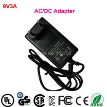 27W 9v dc power adapter free Shipping 1pcs 100% new high quality wall mounted switching power supply 9v 3a with EU standard plug