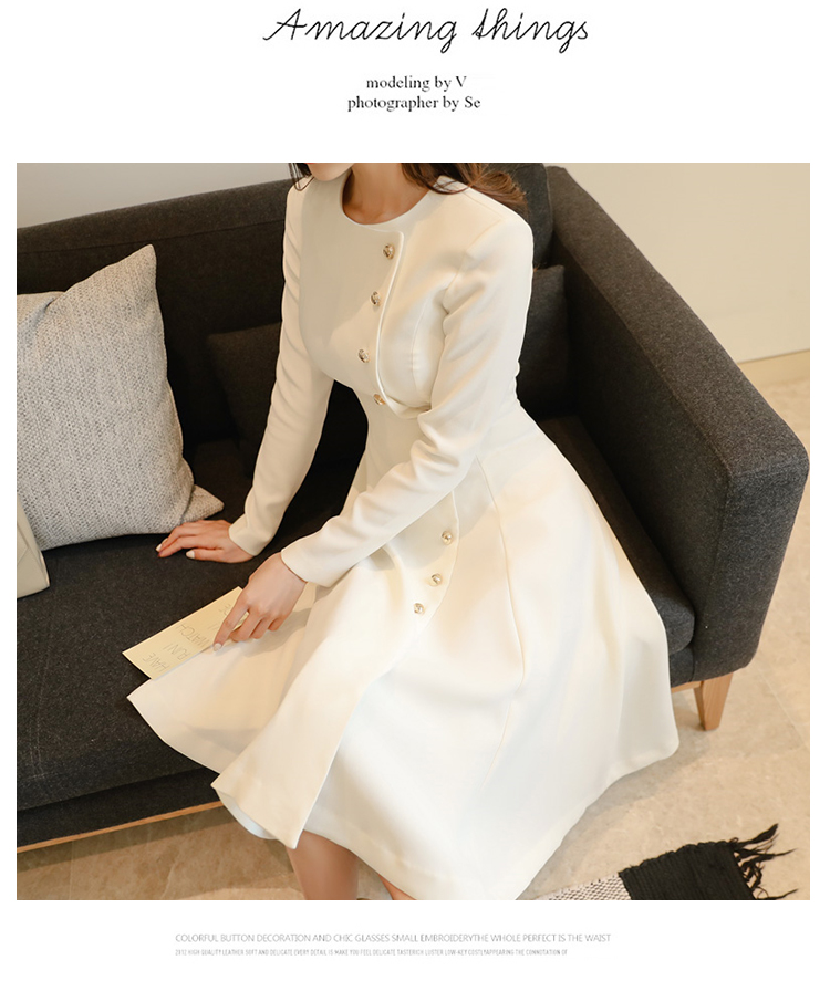 Elegant Dress Women Casual Long Sleeve Dress Office Lady Runway Designers High Fashion Dress 13