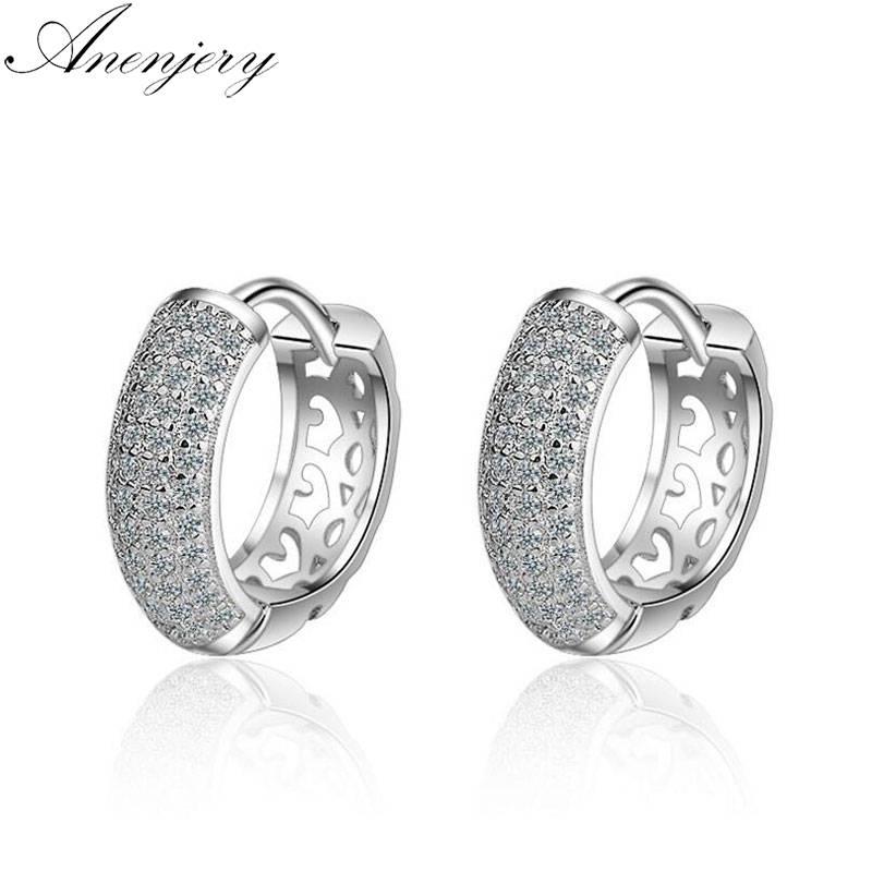 Anenjery New Fashion 925 Sterling Silver Dazzling CZ Mosaic Zircon Charm Earrings For title=
