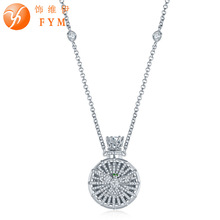 FYM Brand Perfume Bottle Pendant Necklaces Silver Cosor Round AAA Cubic Zircon Necklace for Women