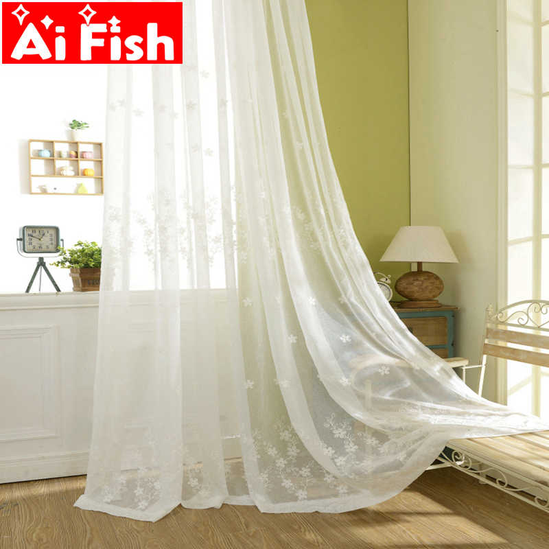 White Pastoral Floral Embroidered Cotton And Linen Voile For Living Room Bay Window Finished Curtain Bedroom Tulle DF003-30