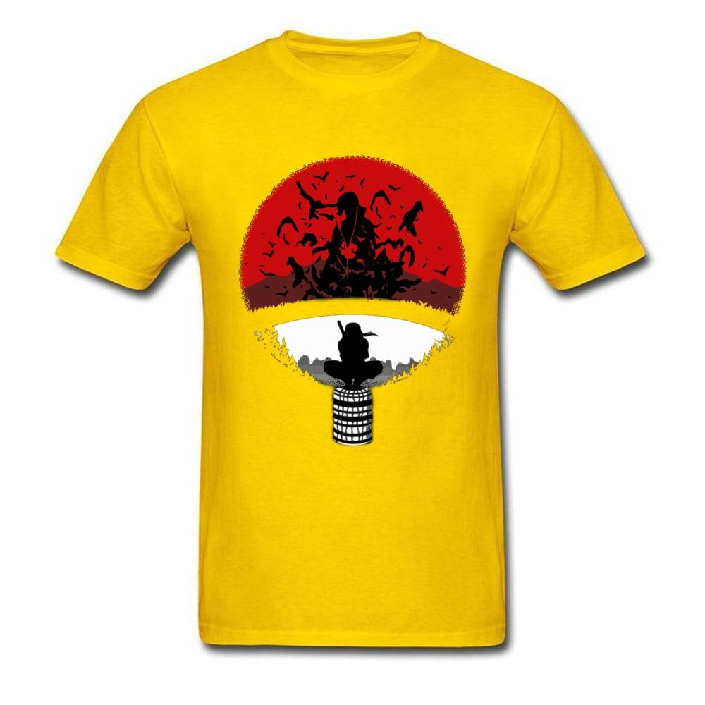 Itachi Uchiha Amazing Clan Round Collar T Shirt Father Day 3D Printed T Shirt Short Sleeve Popular 100% Cotton T Shirt Men's Itachi Uchiha Amazing Clan yellow