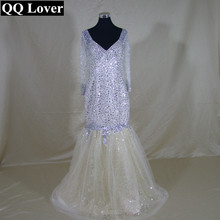 QQ Lover 2017 African Luxury Beaded Mermaid Wedding Dress Custom-made Plus Size Bridal Gown Vestido De Novia With Real Pictures