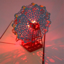 Ferris Wheel 3D Laser Cut Pop Up Greeting Card Postcards Happy Birthday Music LED Lighting Handmade Paper Cards Craft Gifts