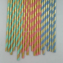 300pcs Blue Coral Mint and Gold Foil Paper Straws Metallic Gold Party Theme Bridal Shower Decorations Cocktail Drinking Straws