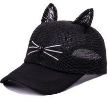 2018 nuevo adultos Casual orejas de gato gorra de béisbol mujeres  encantadoras verano ajustable Hip Hop f5ed2749626