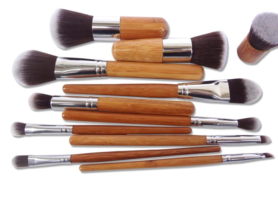 Natural Makeup Cosmetics Brushes+Professional Bag
