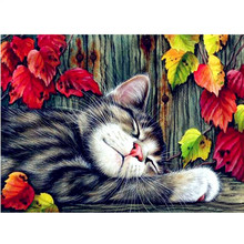NEW 40*30CM DIY Hand Made Diamond Painting Cats Diamond Embroidery Mosaic Cross Stitch Animals Pattern Bedroom Decorative Gifts