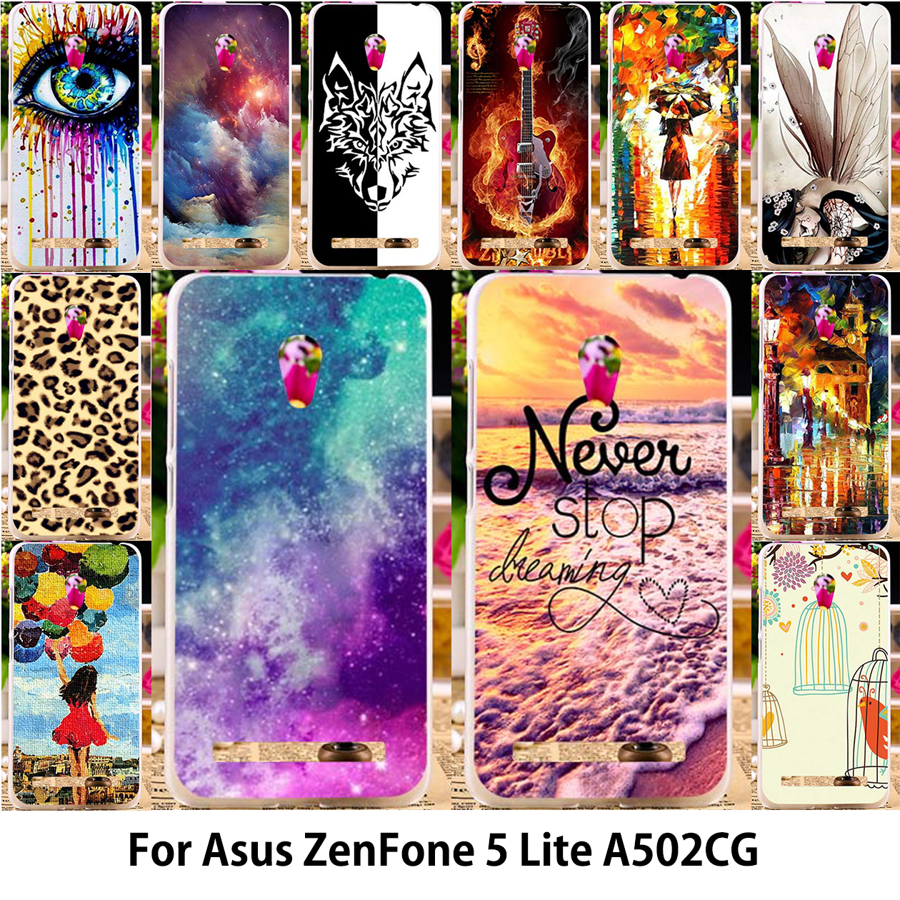 "Abstract Painted Mobile Phone Cases For Asus ZenFone 5 Lite Case ASUS_T00K A502CG ZenFone5 Lite 5.0"" Silicon Soft TPU Back Cover(China (Mainland))"