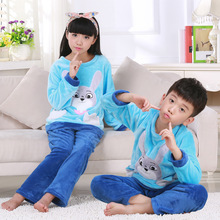 High quality Kids Flannel Pajamas sets Warm Coral fleece Girls cartoon sleepwear Winter Long sleeve Home clothing(China)