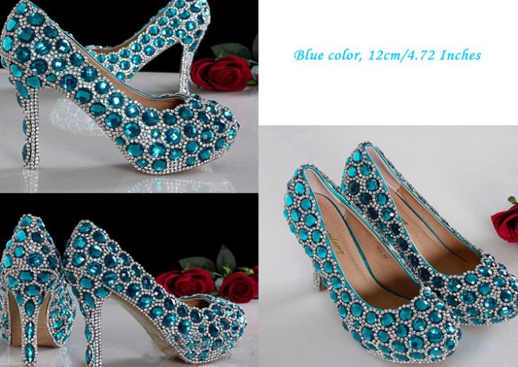 High Heel Luxurious Rhinestone Bridal Dress Shoes Beautiful Fashion Blue Wedding Shoes for woman Lady Formal Shoes<br><br>Aliexpress