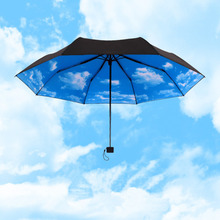 Blue sky rain sun umbrella for women man 3 folding UV Block Protection umbrella Travel Compact Lightweight Umbrella