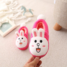 Winter Girls Slippers Keep Warm Kids Cotton Slippers Brushed Thickening Shoes For Baby Girls Resistance Cute Animal Pattern(China)