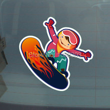 3Sizes Funny Outdoor Sports Skiing Skateboard Car Sticker Decals Reflective 3M Material for Car Whole Body Window 3564(China)
