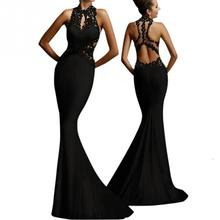 Hot Sale Elegant Women's Long Dress Sleeveless Design Sexy Back Style Dress for prom Party 2017