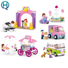 Sluban City Life Girl Friends BuildingBlocks Fountain supermarket car delivery piano solo Bakery wagon Toys For Birthday Gift