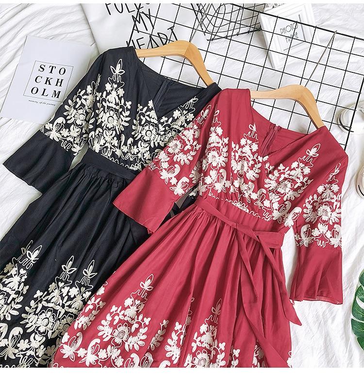 2019 Spring Summer V-neck Embroidery Dress Flare Sleeves Bohemian Dress Belted Ethnic Loose Vintage Dress 51