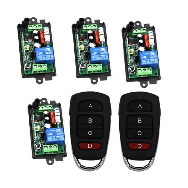 AC 220V 1channel 10A rf wireless remote control switch system 4 Receiver &amp; 2 Transmitter 315MHZ/433 MHZ 3406<br>