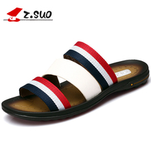 Buy z.suo Black Beach Slippers Mens Flip Flops Genuine Leather 2017 Summer Rubber Outdoor Casual Male Slides Sandals Men Shoes 18805 for $30.00 in AliExpress store