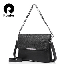 REALER brand women clutches with crocodile pattern artificial leather handbag chain messenger bags fashion ladies shoulder bag