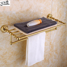 Gilded Finishes Bathroom Towel Rack Wall Mount Bathroom Accessries Double Tiers With Single Single Towel Bar Brass Towel Shelf(China)