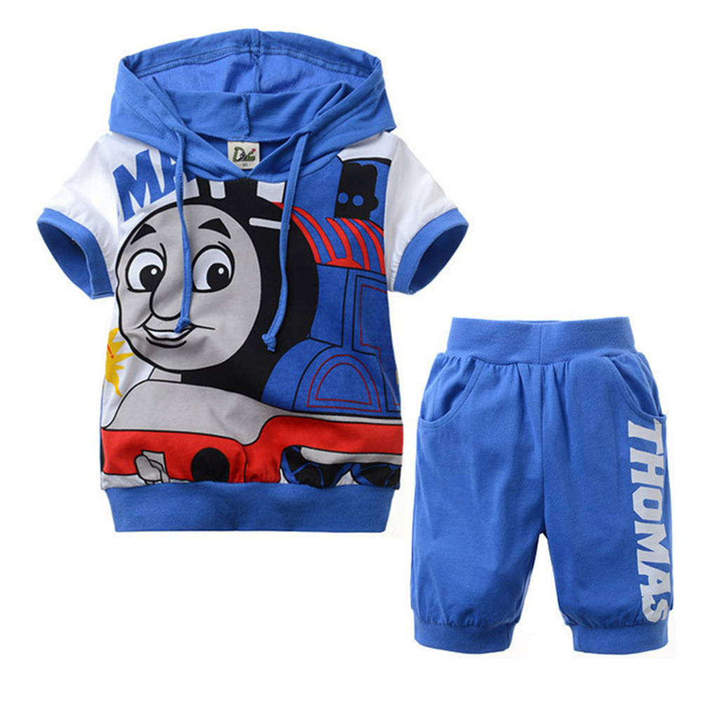 High Quality Summer Boys Cotton Clothing Sets Thomas And Friends Clothes Children Short Sleeve Hoodies T-shirts+Kids Short Pants<br><br>Aliexpress