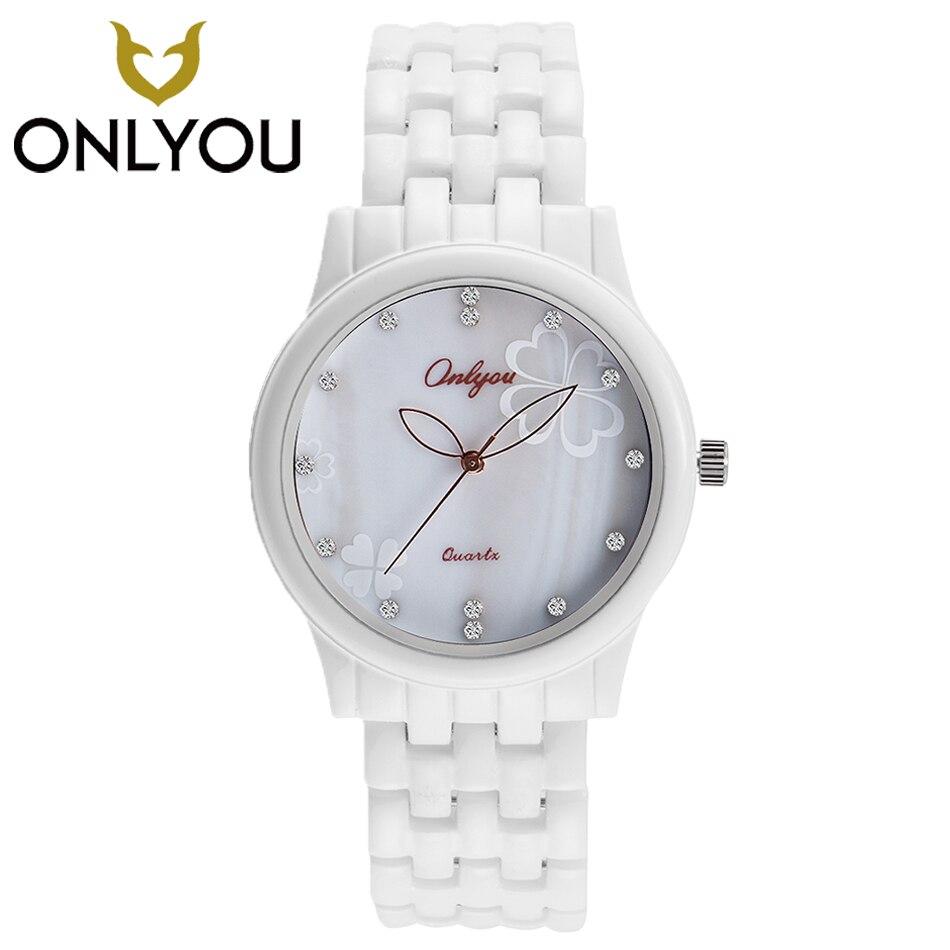 ONLYOU White Ceramic Watches Casual Quartz Watch Fashion Women bracelet Wristwatch Female Clock Charm Watch relogio feminino <br>