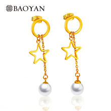 Chic Stainless Steel Jewelry Imitation Pearl Gold Color Star Drop Earring Dangle for Women -A5(China)
