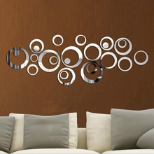 24pcs DIY 3D Mirror Acrylic Wall Stickers Circle Ring Art Mural Wall Stickers TV Background Living Room Home Decorative Decals(China)