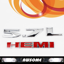 Fast Shipping! 2x 3D Silver 5.7L HEMI Red Car Tailgate Sticker Decal Engine Emblem For Charger Mopar Dodge Ram Pickup Challenger