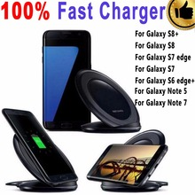100% Real Fast Wireless Charger Pad for Samsung Galaxy S6 S6 edge Plus S7 S7 edge S8 S8 Plus with Free Clear TPU Cover Case