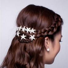 Free shipping! Fashion Cute U-type clip pin hair ornaments new starfish bride girl plate with small hair dress Barrettes jewelry(China)