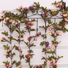 Silk Artificial Flowers Rose Fake Vine European Ivy Hanging Rattan Floral Wedding Home Party hotel scenery Decoration Flores(China)