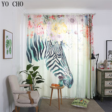 YO CHO Modern Colorful zebra curtains for children curtains blackout Bedroom Finished Product Blind Curtain Window Sheer Curtain(China)
