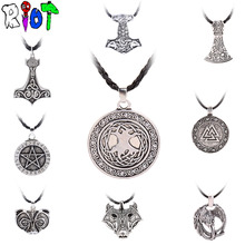 12 Types Viking Choker Necklace Leather Chain Pendant The Tree Of Life Crow Bear Head Axe Design vintage Jewelry For Man Women