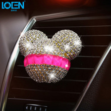 2PC Car Accessories Interior Car Air Outlet Perfume Crystal Diamond Cute Cartoon forMickey Aromatherapy Air Freshener Fragrance