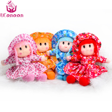 UCanaan 25CM/9.84inch Plush Doll Smiley Doll Flower Dress Girls Miniature Sweet Cute Ragdoll Fashion Toys for Children Gift(China)