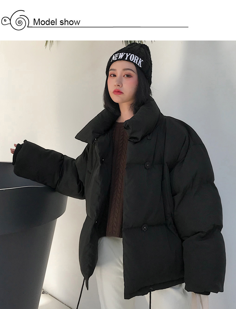Korean Style 19 Winter Jacket Women Stand Collar Solid Black White Female Down Coat Loose Oversized Womens Short Parka 4