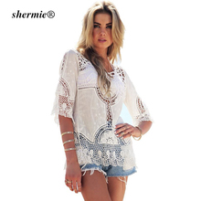 Shermie White Hollow Out Blouse Summer Elegant O Neck Lace Crochet Boho Top blusa feminina Beach Shirt Women Flower Pattern(China)