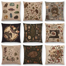 Classical Things Prints Gems Minerals Floral Elk Nature Flower Trees Fox Rabbit Deer Birds Cushion Cover Sofa Throw Pillow Case(China)
