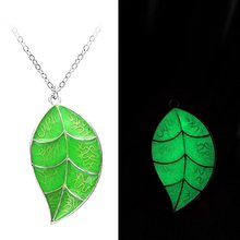 Green Glowing Foliage Necklace Magic Leaf Shape Glow in the Dark Charm Pendant Necklace