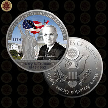 WR Birthday Souvenirs Metal Crafts Silver Coin Quality Harry S Truman Commemorative Art Crafts The US President Gift Coin(China)