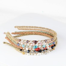 Colorful Crystal Hair Bands in Women Hair Accessories Adults Girls Sweet Headbands Fashion Beads Rhinestone Headwear Hairbands