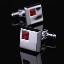 DR-CF0107 Inlaid Crystal Square Man Cufflinks For Gifts Men Jewelry Unique Wedding Groom Cuff Links Business Silver