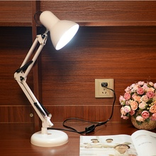 Led Table Lamp Iron Morden American Foldable Long-Arm Desk Lamp Reading Lamp E27 110V 220V Clip Office Lamp