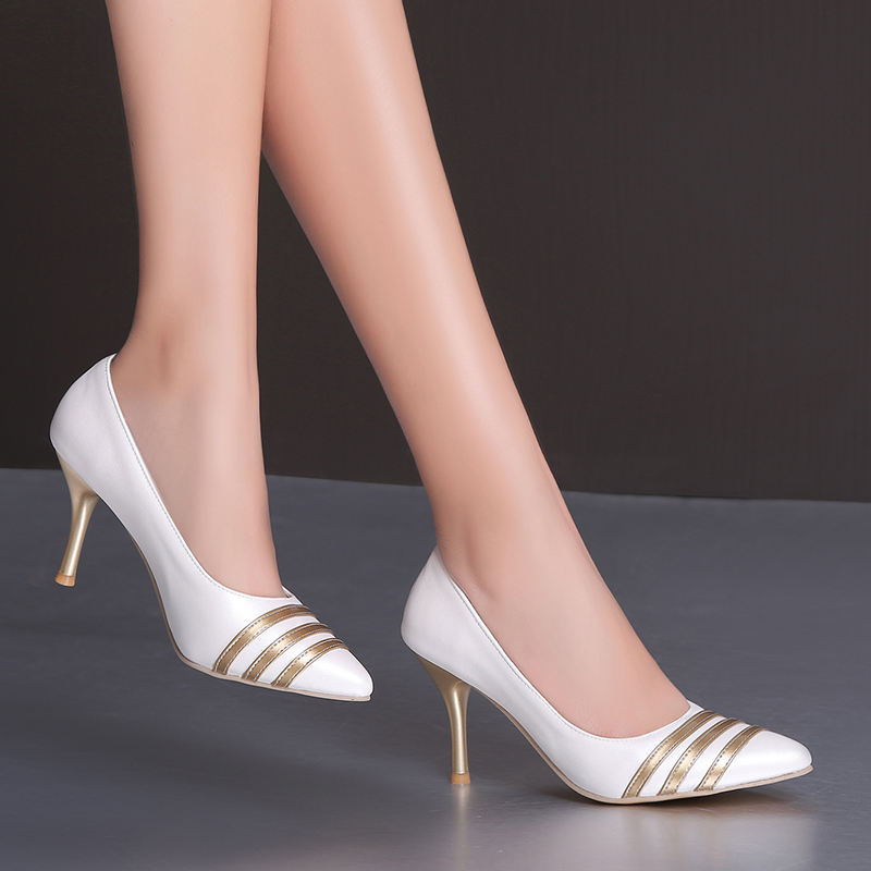 2017 new Woman High Heels Women Pumps Stiletto Thin Heel Womens Shoes Nude Pointed Toe High Heels Wedding Shoes size 33-44<br><br>Aliexpress